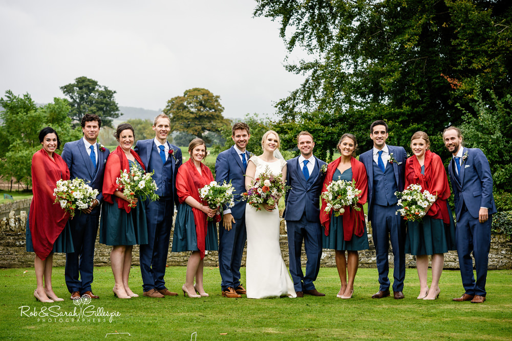 Group photo of bridal party at Delbury Hall wedding
