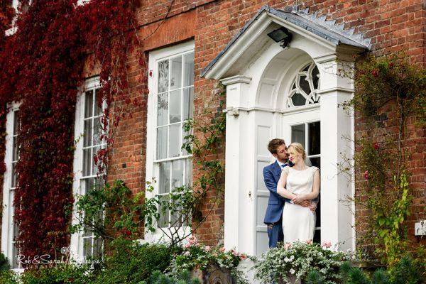 Bride and groom at Delbury Hall