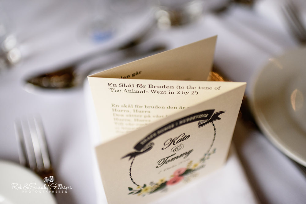 Table details and decoration at Delbury Hall wedding