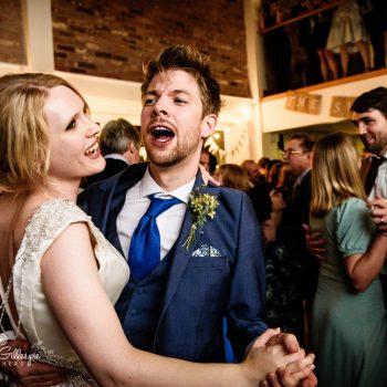 Bride and groom dancing at Delbury Hall wedding