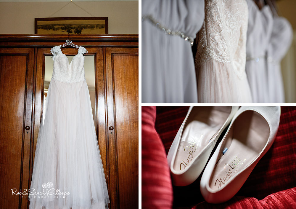Bridal dress and shoes at Eastnor Castle