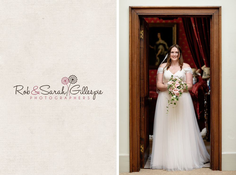 Portrait of bride in doorway at Eastnor Castle