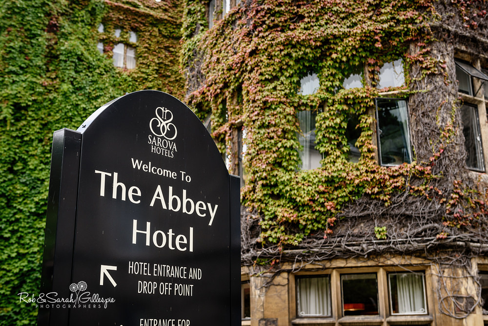 Groom getting at Abbey Hotel in Malvern for wedding at Malvern College