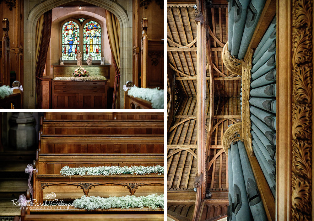 Interior of chapel at Malvern College, decorated for wedding
