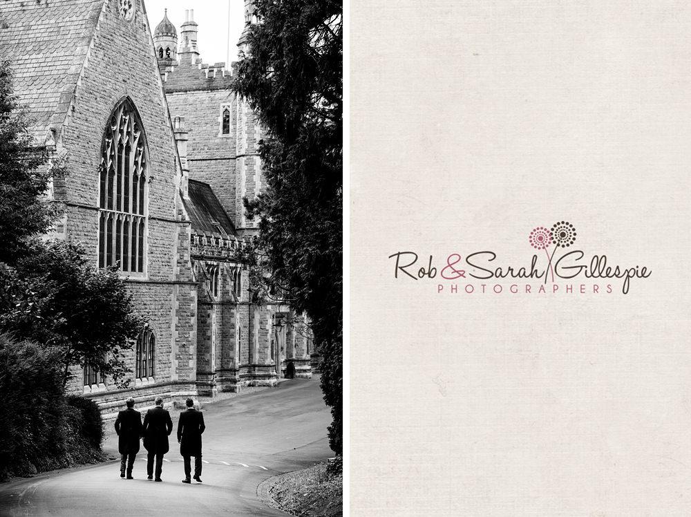 Groom and groomsmen walk to Malvern College for wedding