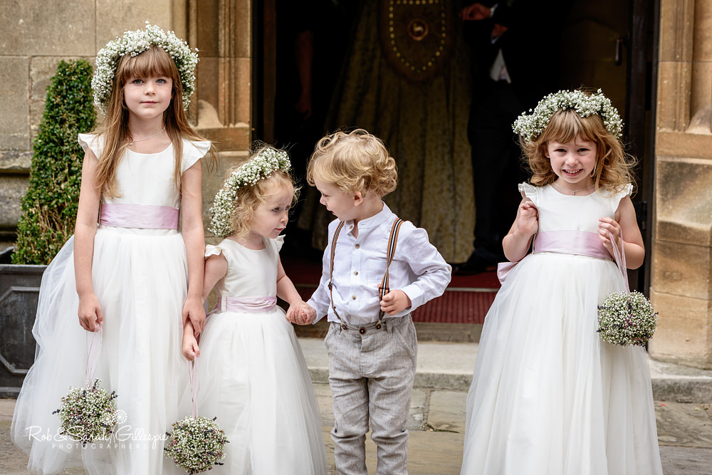Flowergirls and pageboy at Malvern College chapel