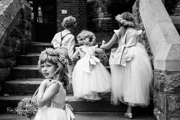 Flowersgirls and pageboy at Malvern College wedding