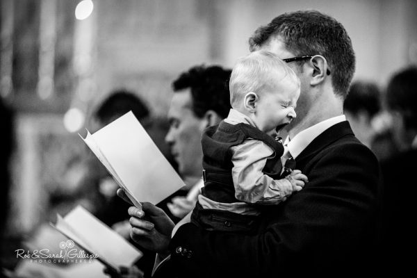 Boy yawns during wedding service at Malvern College
