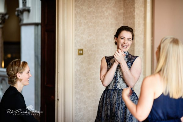 Bridesmaids laughing at Highbury Hall wedding