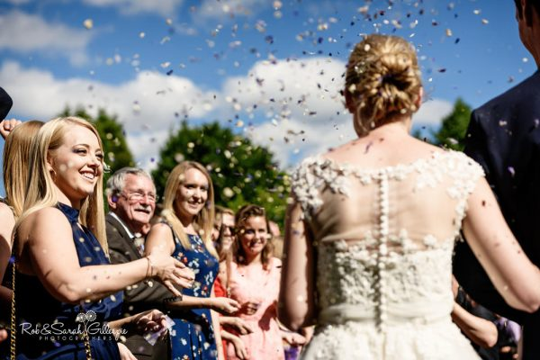 Confetti thrown at Highbury Hall wedding