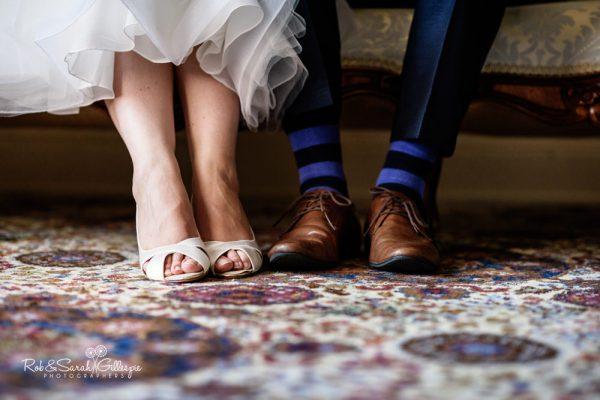 Bride and groom shoes at Highbury Hall wedding