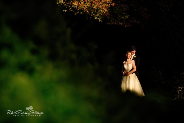 Bride and groom in gorgeous light at Highbury Hall