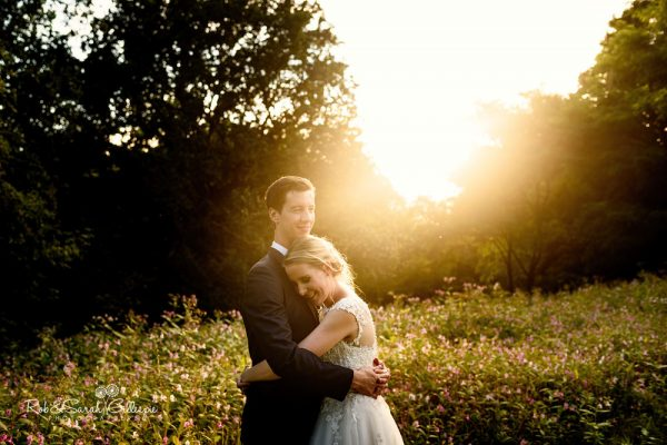 Bride and groom in the grounds at Highbury Hall