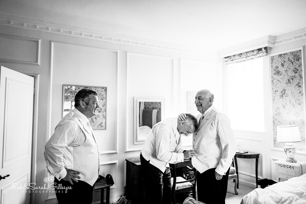 Groom and friends get ready fro wedding at Castle Hotel in Taunton