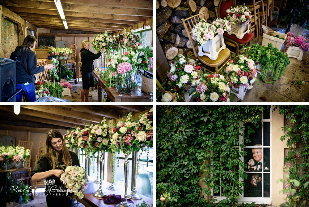 Florists prepare flowers for wedding at Maunsel House