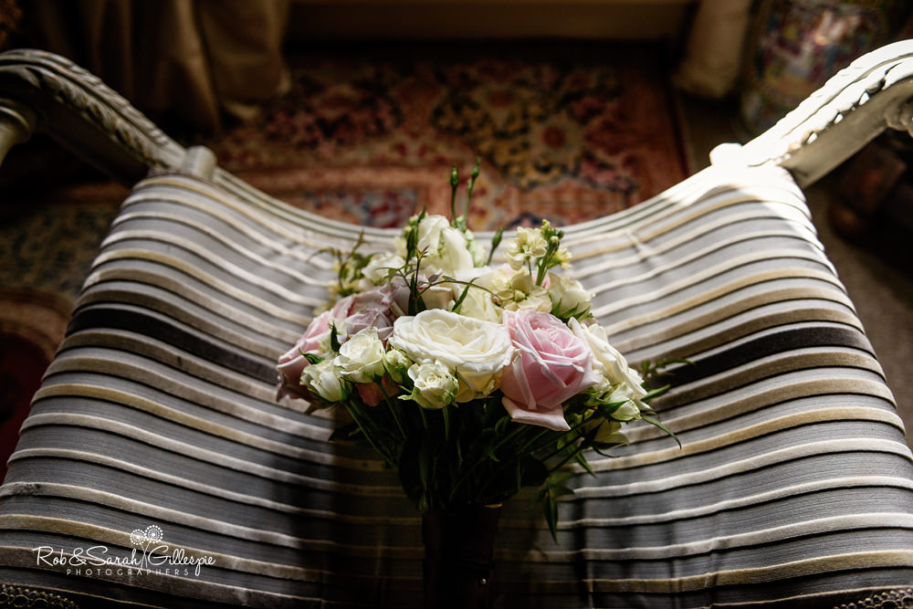 Bridal bouquet in beautiful window light at Maunsel House