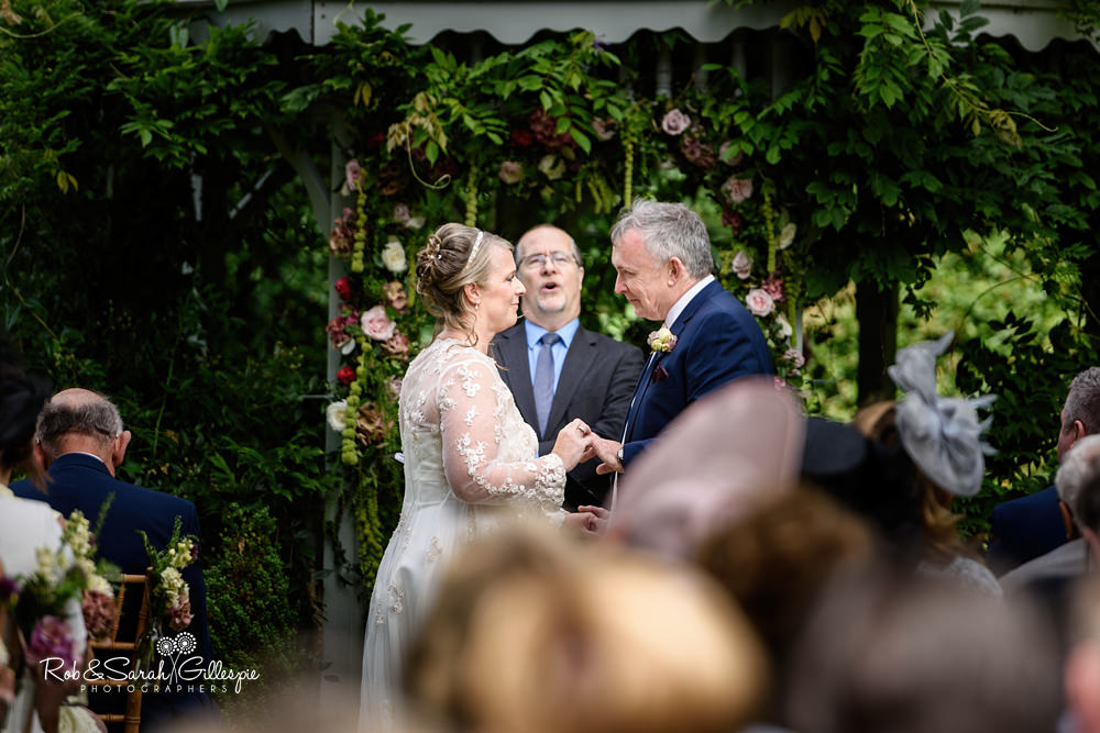 Outdoor wedding ceremony in Maunsel House gardens