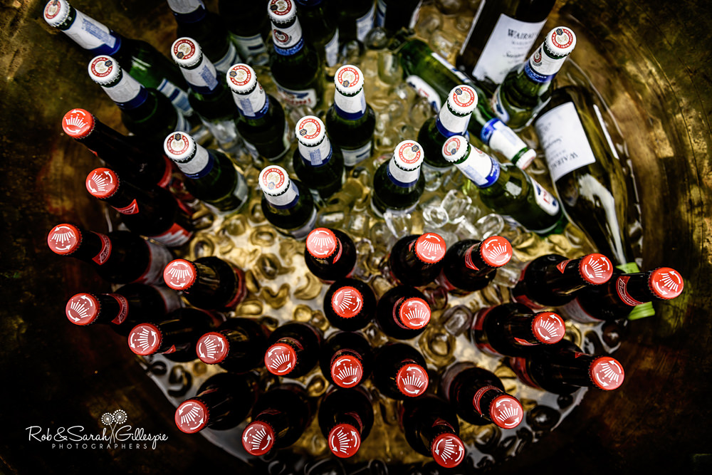 Bottles of beer in ice bucket at Maunsel House
