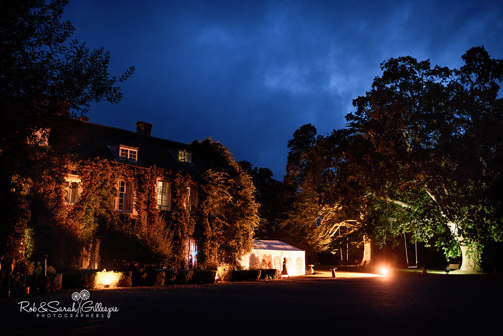 Wedding guests at evening reception party at Maunsel House