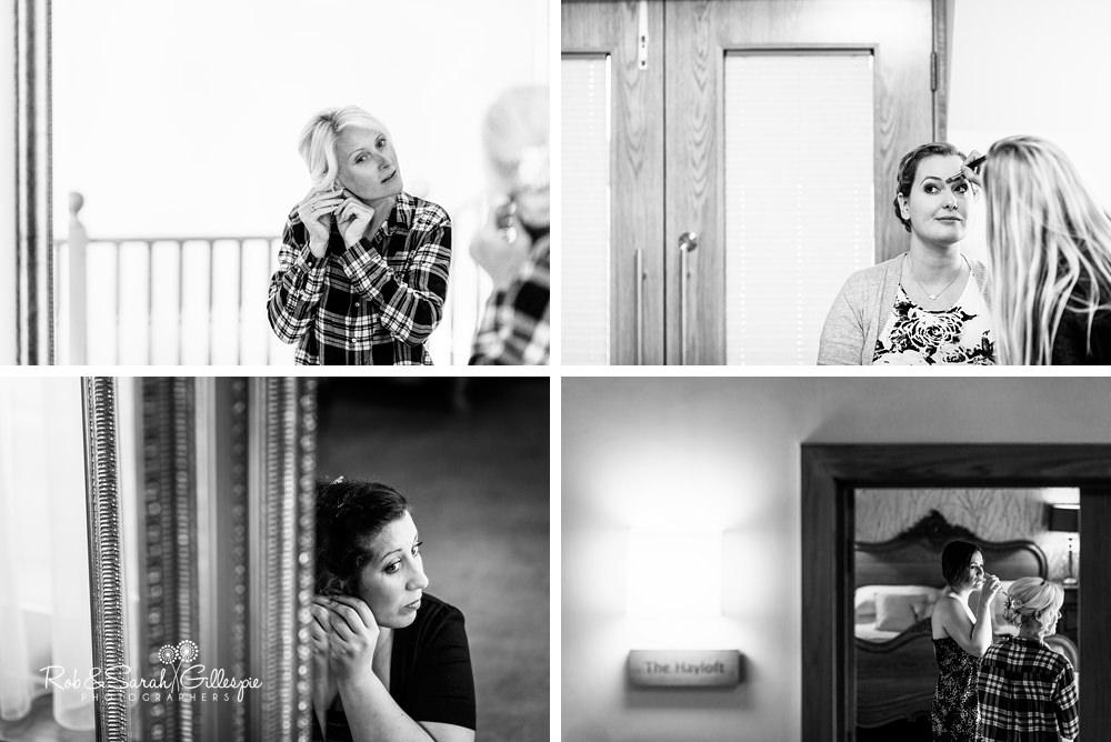 Bridesmaids get ready for wedding at Mythe Barn