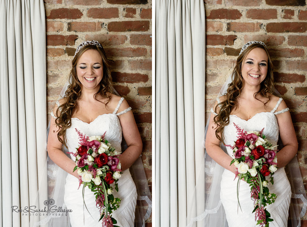 Portrait of bride at Mythe Barn