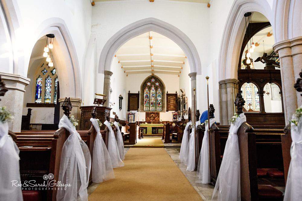 Interior of All Saints church Grendon, Warwickshire