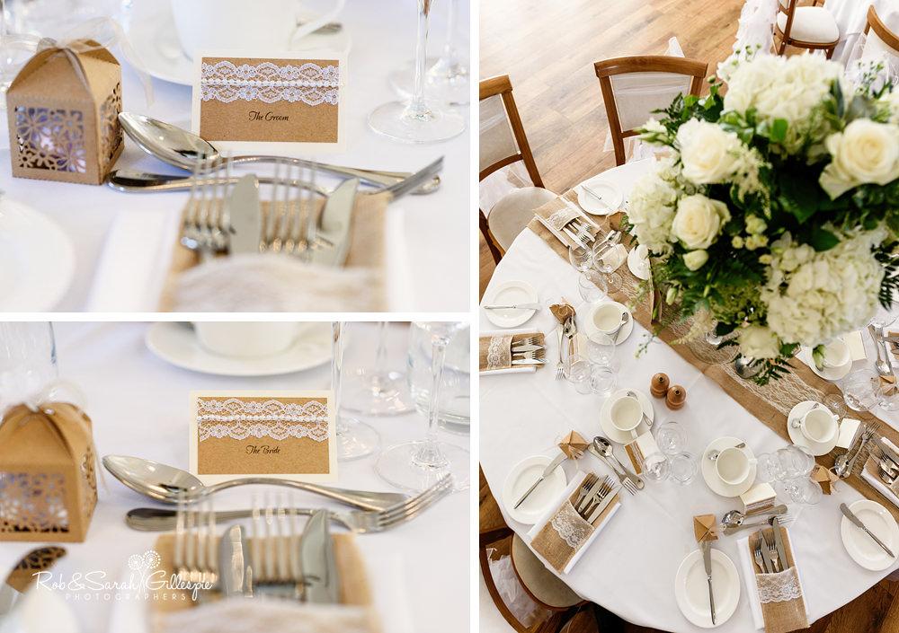 Mythe Barn decorated for wedding reception