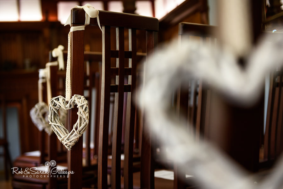 Decorative hearts hanging off chairs in Morning Room at Pendrell Hall