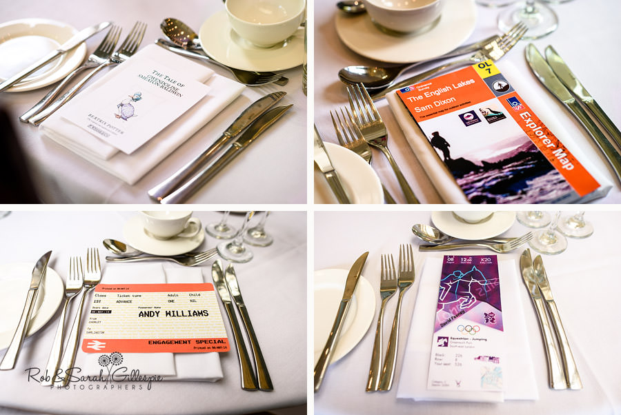 Wedding breakfast table details at Pendrell Hall