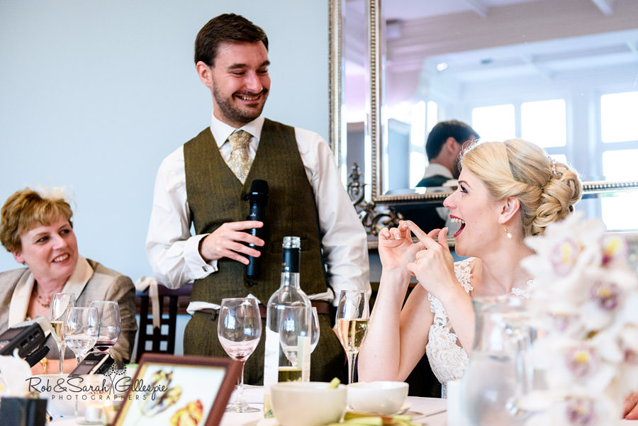 Groom gives speech during wedding breakfast at Pendrell Hall