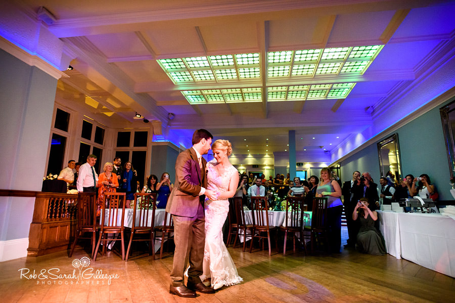 Bride and groom do their first dance in Ballroom at Pendrell Hall