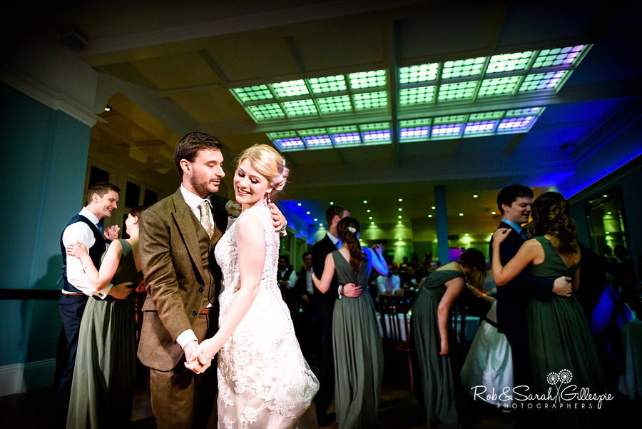 Newlyweds and guests dance at wedding at Pendrell Hall