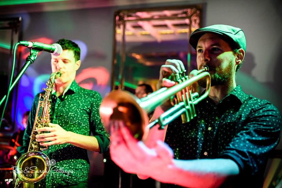 Hot Jazz Biscuits brass section plays during wedding reception