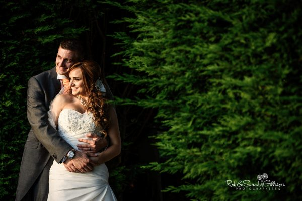 Bride and groom together in beautiful evening light