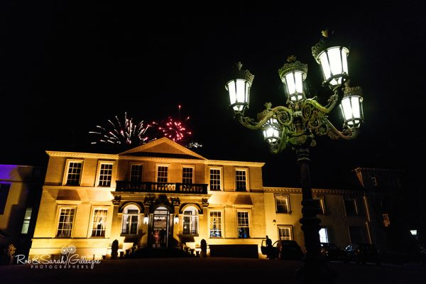 Spring Grove House at night with fireworks