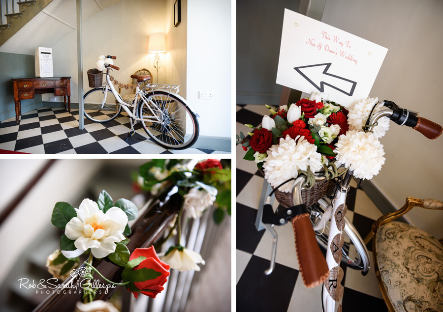 Decorate bicycle with signs to wedding inside Warwick House