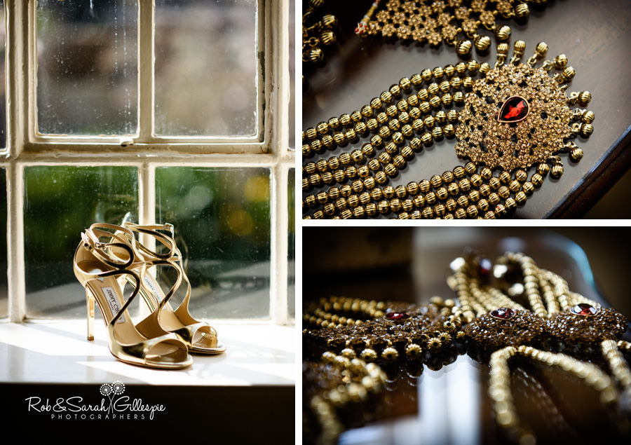 Details of wedding jewellery and Jimmy Choo wedding shoes