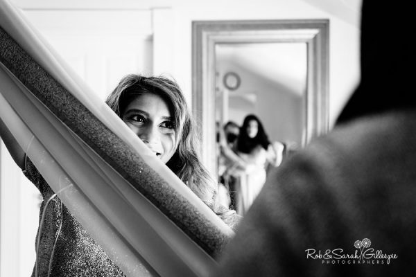 Bride preparations at Warwick House wedding