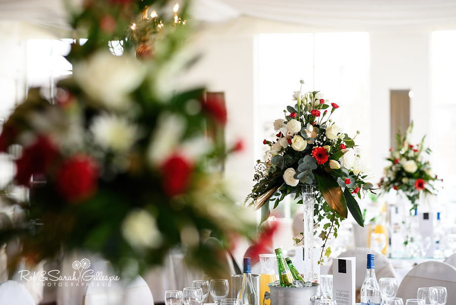 Wedding breakfast room details at Warwick House