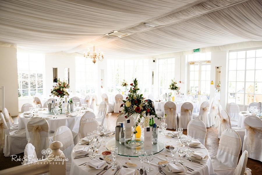 Wedding breakfast room details at Warwick House