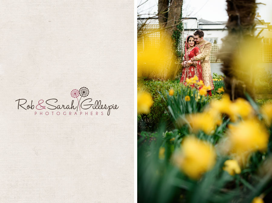 Bride and groom together in gardens at Warwick House with daffodils in foreground