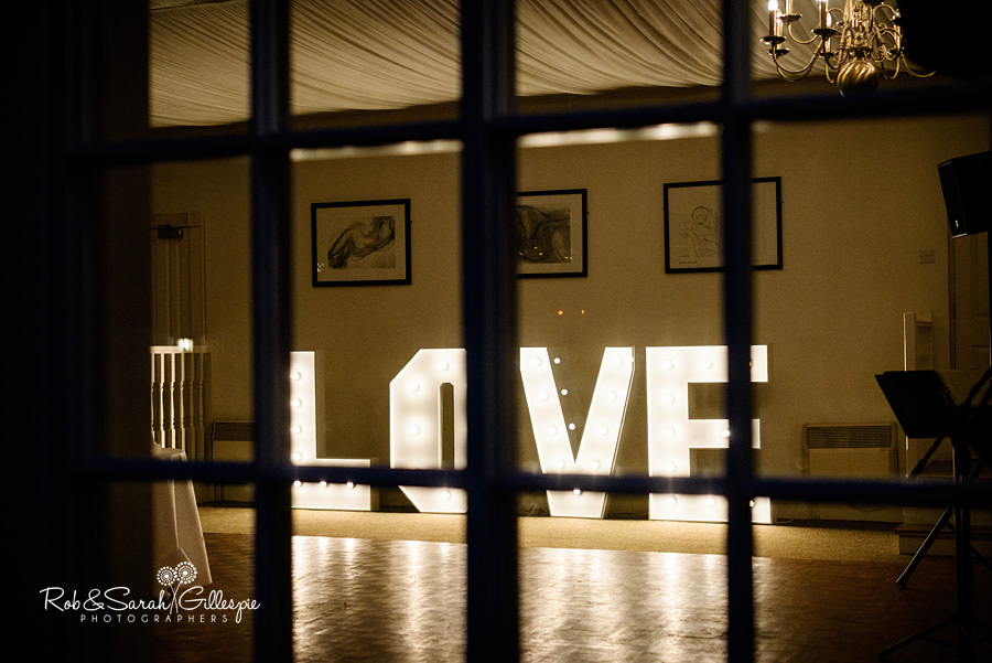 Wedding Love sign at Warwick House