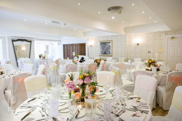 Wedding breakfast room at Nuthurst Grange