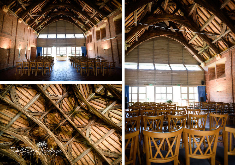 Detail images of Avoncroft Museum Guesten Hall, ready for wedding