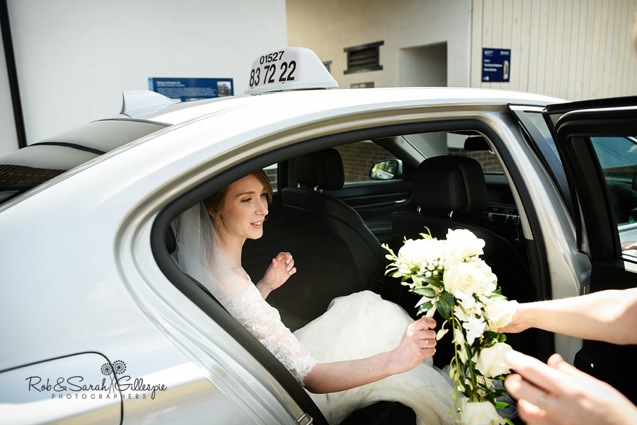 Bride arrives in car at Avoncroft Museum