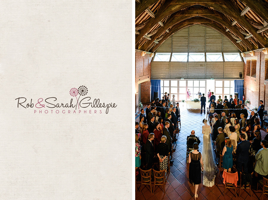 Bride and father walk up the aisle at Avoncroft Museum wedding
