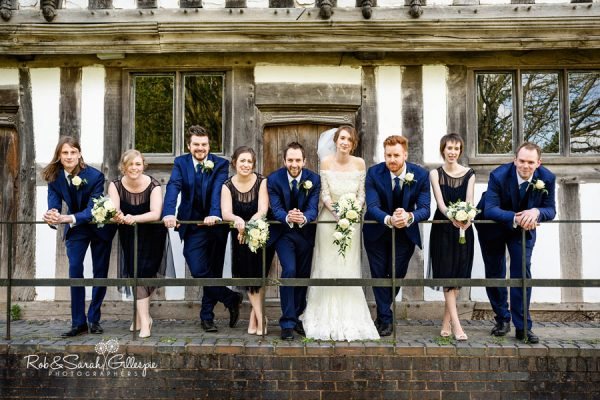 Bride, groom, ushers and bridesmaids at Avoncroft Museum