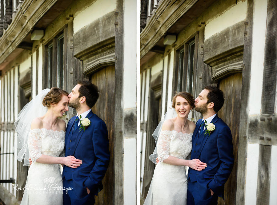 Bride and groom together following wedding at Avoncroft Museum