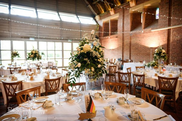 Guesten Hall at Avoncroft Museum set up for wedding breakfast