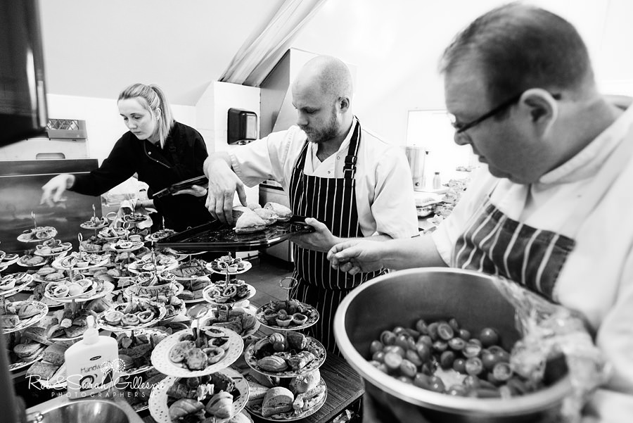 Kitchen staff prepare food for wedding at Avoncroft Museum